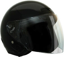 Black Open Face DOT Motorcycle Helmet with storage bag 4 sizes fnt