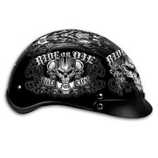 Ride or Die Skull Biker for Life DOT Motorcycle Helmet with storage bag 2XL fnt