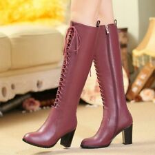Womens Fashion knight lace up knee high boots side zip high block heel punk shoe