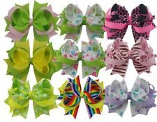 "4"" 9PCS Baby Girls boutique barrettes Ribbon Hair Bows Clip &solid 37styles"