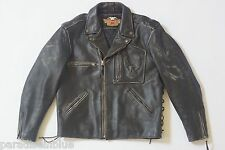 Harley Davidson Men's Vintage 90's Embossed Eagle Leather Jacket Laces XL RARE