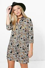 Boohoo Womens Bernadette Paisley Shirt Dress