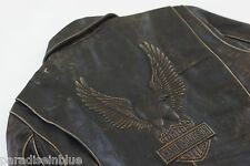 Harley Davidson Men USA Made Embossed Eagle Brown Riding Leather Jacket M L Rare