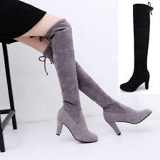 New Womens Suede Boots High Heels Over the knee Boots Stretch knee-high boots