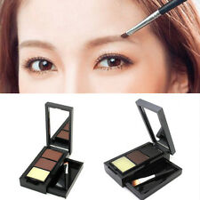 New EyeBrow powder Makeup 2 Color Powder+Eyebrow Wax + Mirror + Brush Set Hot