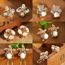 Elegant Fashion Women Lady Girls Crystal Rhinestone Flower Ear Stud Earrings Lot