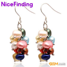 Pearl Dangle Hook Cluster Earrings Silver Plated Fashion Women Jewelry Xmas Gift