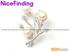 Charms Natural Pearl Rhinestone Brooches Pin Gold Plated Women Jewelry Xmas Gift