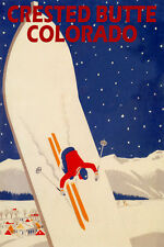 CRESTED BUTTE COLORADO SKIING SNOWBOARD SKI JUMPING SPORT VINTAGE POSTER REPRO