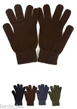 "Men's Stretch Acrylic Sweater Knit Gloves/Hand Warmers 9"" Black"