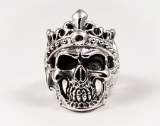 SKULL WITH CROWN RING STERLING SILVER 925