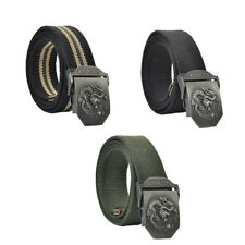 3D Mens Dragon Metal Buckle Military Waistband Webbing Jeans Casual Canvas Belt
