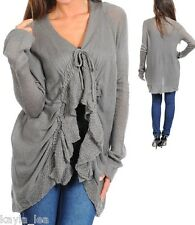 Gray Ruffle/Tie Front Soft Sweater Knit Long Sleeve Shrug/Cardigan Cover-Up