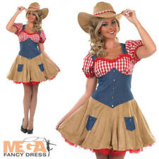 Sexy Cow Girl + Hat Fancy Dress Ladies Western Adult Womens Cowgirl Costume New