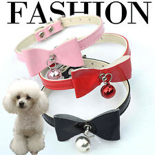 Adjustable Rhinestone Faux Leather Puppy Bell Bow Ring Collar Pet Dog Cat Collar