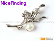 Freshwater Pearl Rhinestone Crystal Brooch Pin Gold Plated Fashion Jewelry Gifts