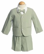 Baby Infant Boys 4 pc Summer Eton Jacket & Shorts Suit Set Green 12 - 18 months