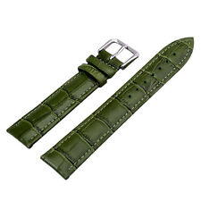 Unisex Green Genuine Leather Alligator Crocodile Grain Watch Strap Band Men Lady