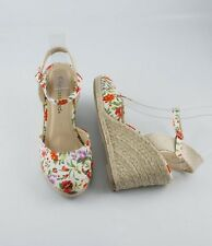 White Floral Print Summer Best Dress Espadrilles Wedge Sandals w Ankle Strap