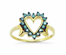 Value! 100% 10K Yellow Gold & Blue Diamond Heart Fashion Ring .25ct - Great Gift