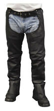 Redline Men's Classic Black Removable Liner Leather Motorcycle Chaps M-1650