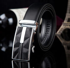 Luxury Men Simple Geometry Auto Lock Buckle Business Genuine Leather Waist Belt