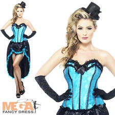 Blue Burlesque Dancer Ladies Fancy Dress Moulin Rouge Can Can Womens Costume