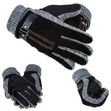 New Men's Leather Velvet Thermal Thicken Winter Warm Driving Skiing Gloves