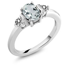 0.92 Ct Oval Sky Blue Aquamarine White Diamond 18K White Gold Ring