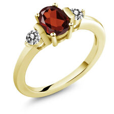 1.10 Ct Oval Red Garnet White Diamond 18K Yellow Gold Plated Silver Ring
