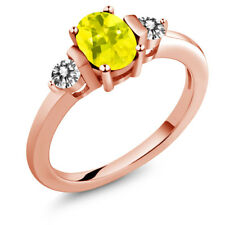 1.00 Ct Oval Canary Mystic Topaz White Diamond 18K Rose Gold Plated Silver Ring