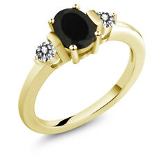 1.00 Ct Oval Black Onyx White Diamond 18K Yellow Gold Plated Silver Ring