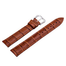 Coffee Genuine Leather Alligator Crocodile Grain Watch Strap Band Men Women
