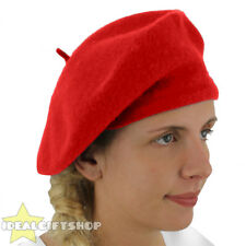 LADIES RED BERET VINTAGE FRENCH CAP FANCY DRESS COSTUME HAT FRENCH FASHION WARM