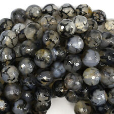 """Faceted Black Dragon Vein Agate Round Beads 14.5"""" Strand 4mm 6mm 8mm 10mm 12mm"""