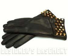GUCCI black leather Gold CYLINDER Studs CASHMERE lined Gloves NWT Authentic $695