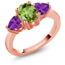 2.13 Ct Oval Green Peridot and Purple Amethyst 18K Rose Gold Plated Silver Ring
