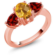 2.33 Ct Checkerboard Yellow Citrine Red Garnet 18K Rose Gold Plated Silver Ring