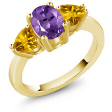 1.82 Ct Oval Purple Amethyst Yellow Citrine 18K Yellow Gold Plated Silver Ring