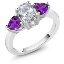 2.10 Ct Oval White Topaz and Purple Amethyst 925 Sterling Silver Ring