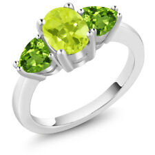 2.06 Ct Oval Yellow Lemon Quartz Green Peridot 18K White Gold Ring