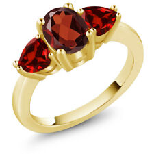 2.28 Ct Oval Red Garnet 18K Yellow Gold Plated Silver Ring