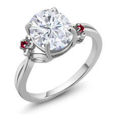 2.75 Ct Oval White Created Moissanite Red Created Ruby 14K White Gold Ring