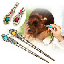 Vintage Rhinestone Flower Pendant Hair Stick Antique Charm Hairpin Royal