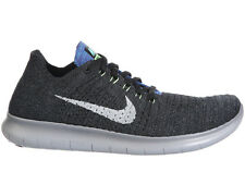 NEW MENS NIKE FREE RN FLYKNIT RUNNING SHOES TRAINERS BLACK / OCEAN FOG / GHOST