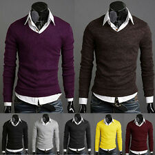 Men Casual Slim Fit V-neck Knit Cardigan Pullover Jumpers Sweater Tops Knitwear