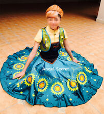J959 Anna costume frozen fever full set women costume cosplay sunflower adult