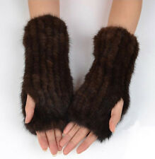 Women's Real Farm Knitted Mink Fur Winter Christmas Magic Coming Mittens Gloves