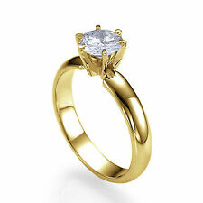 0.60 CT 18K Yellow Gold Solitaire Engagement Ring Size 8.25 Round G VS2 Diamond