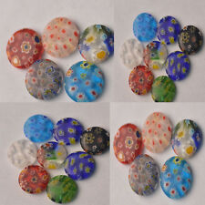 5/10pc Oblate Multi-color Millefiori Lampwork Glass Charms Loose Spacer Beads
